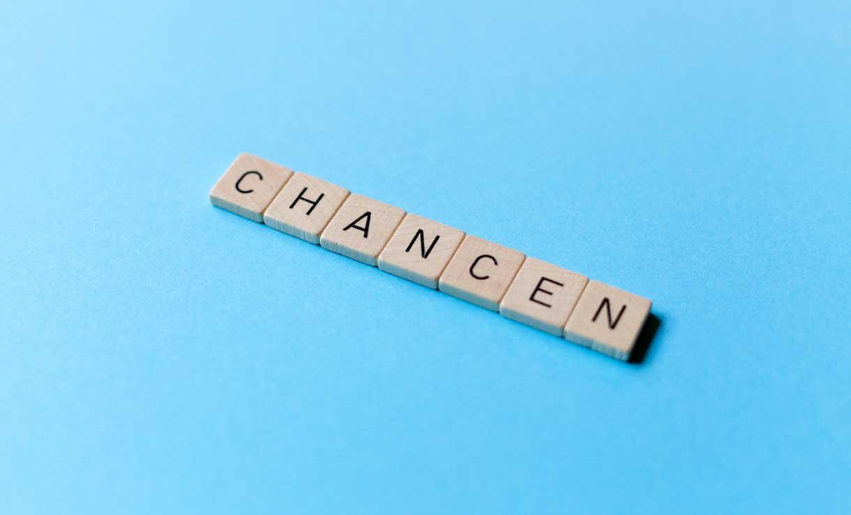 Scrabbleschriftzug Chancen