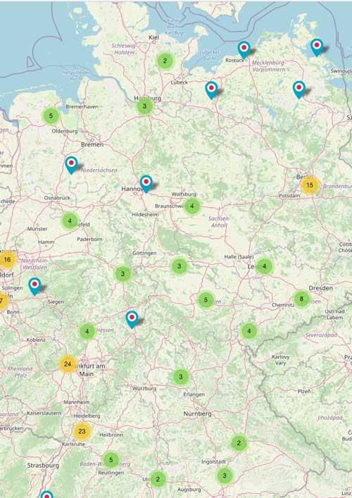 Deutschlandkarte Unternehmen